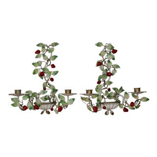 Italian Tole Strawberry Decorated Sconces - a Pair