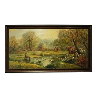 """Vintage Mid-Century """"Hunt Scene"""" Oil Painting For Sale"""
