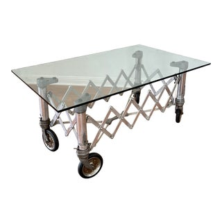 Vintage Industrial Chic Aluminum Scissor Cart Cocktail Coffee Table For Sale