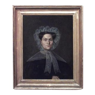 American Country gilt framed oil paintings portraits of lady in lace and man- A Pair For Sale