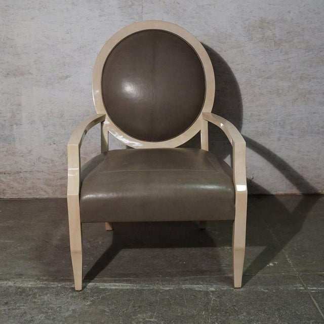 J Robert Scott Dining Chair Bleached Maple Frame with Clear High Polish and Leather Upholstery. (two available)