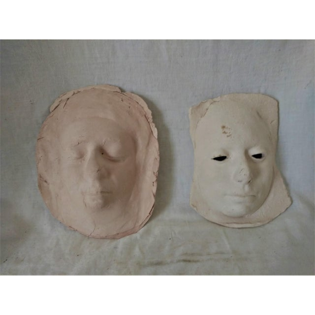 Tan Vintage 1970's Pottery Face Masks - A Pair For Sale - Image 8 of 8