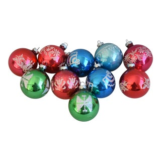 Vintage Colorful Christmas Ornaments W/Box - Set of 10 For Sale