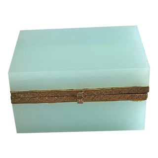 19th Century French Blue Opaline Dresser Box For Sale