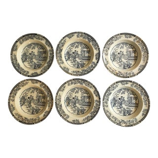 Antique English Ironstone by H & C Set/6 Soup Bowls in the Chinese Pattern For Sale