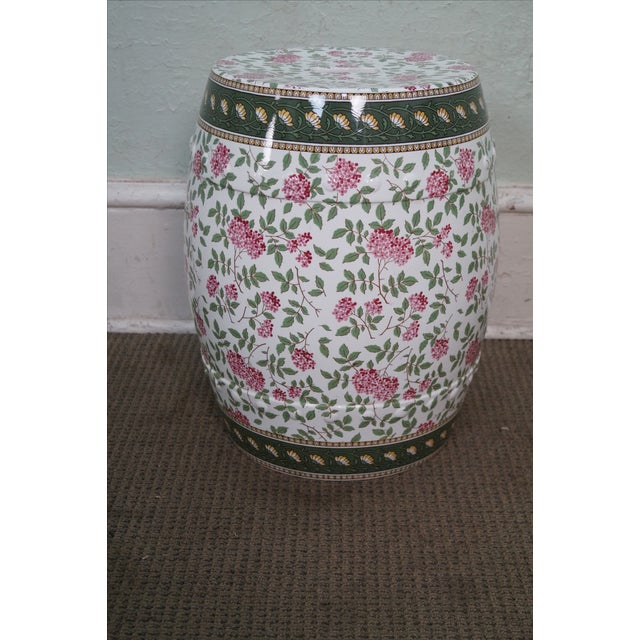 Vintage Floral Pattern Pottery Garden Seat - Image 8 of 10