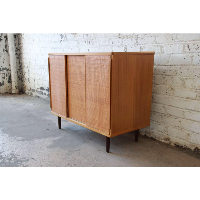 Dunbar Furniture Edward Wormley for Dunbar Woven Front Cabinet For Sale - Image 4 of 11