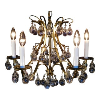 1960s Mid-Century Modern Brass Birdcage Murano Art Glass Crystal Balls 5 Light Chandelier For Sale