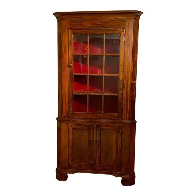 Fruitwood Chippendale Federal Corner Cabinet, United States Circa 1790 For Sale