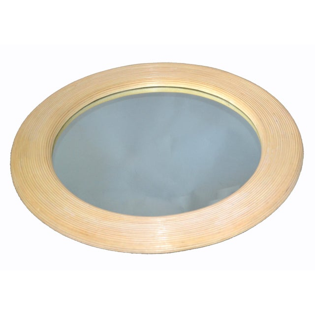 Mid-Century Modern Round Handmade White Washed Pencil Reed Wall Mirror For Sale - Image 4 of 13