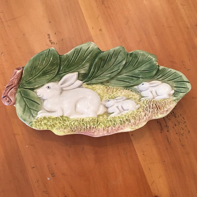 Hand Painted Majolica Italian Bunny Dish For Sale - Image 11 of 11