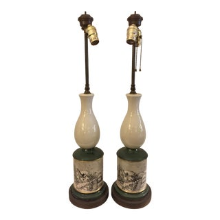 McCoy Vintage Ceramic Lamps with Country Village Scene - A Pair For Sale