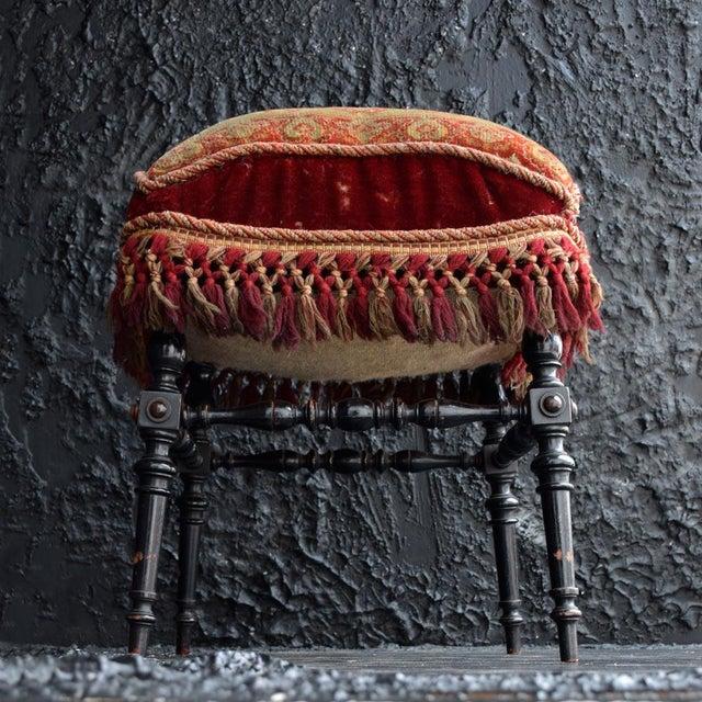 Maroon 19th Century English Ebonised Carpet Stool For Sale - Image 8 of 13