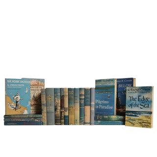 Vintage Blue & Tan Book Set: Sand & Sea, S/20 For Sale