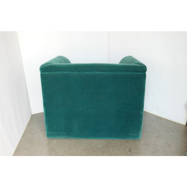 Mohair Vintage Blue- Green Mohair Club Chairs - a Pair For Sale - Image 7 of 12