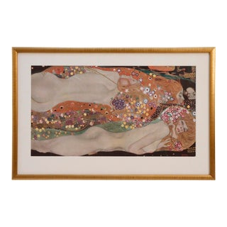 "Original Print of ""Klimt"" Framed & Signed Lithograph Printed in Vienna in Gold Framed For Sale"