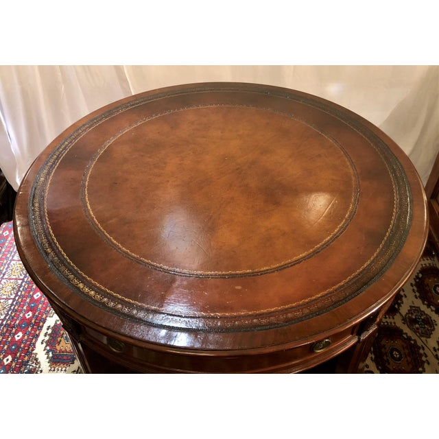 English Traditional Antique English Mahogany Round Writing Desk, Circa 1880. For Sale - Image 3 of 5