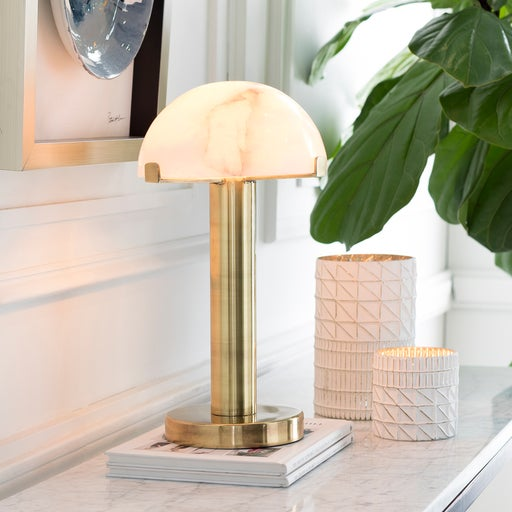 Great accent lamp for a side table, desk or console table. was a craved stone shade and brass body. Overall Dimensions:...
