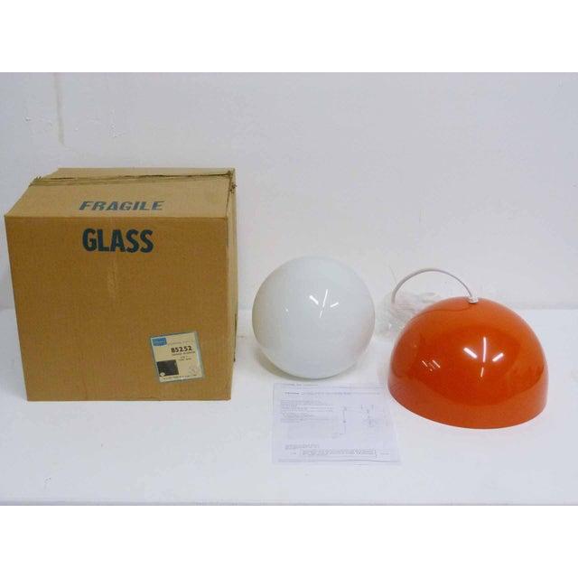 Mid-Century Modern Orange Dome Mid-Century Pendant Lamp For Sale - Image 3 of 9