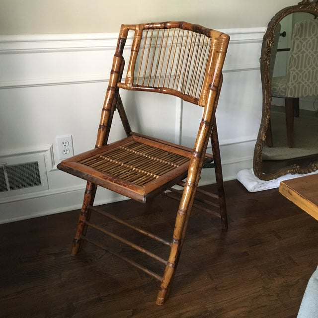 Asian Vintage Tortoise Bamboo Folding Chair For Sale - Image 3 of 9