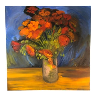 Original Contemporary Alexandra Brown Still Life With Poppies Oil Painting 36 X 36 For Sale