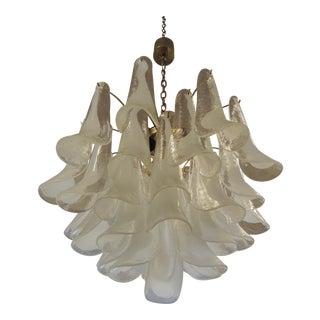 4-Tier Murano Mazzega Style Glass Tulip Petal Chandelier