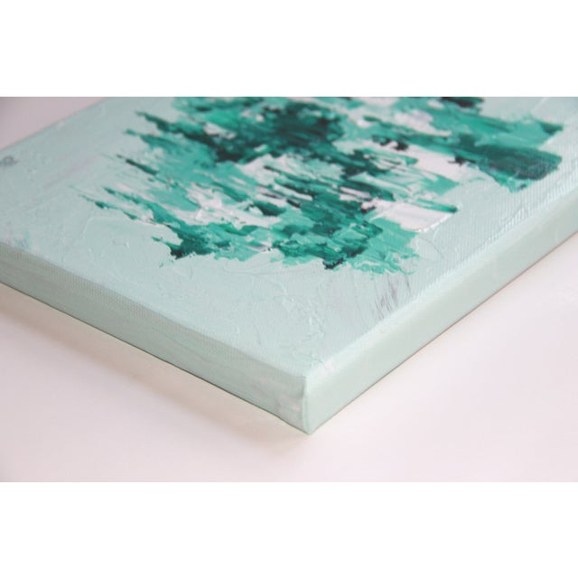 Abstract Mint Green Painting by C. Plowden - Image 2 of 2