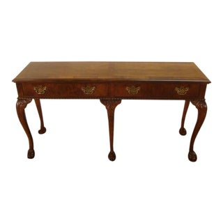 1990s Traditional Baker Mahogany Ball and Claw Foot Banded Top Sofa Table For Sale