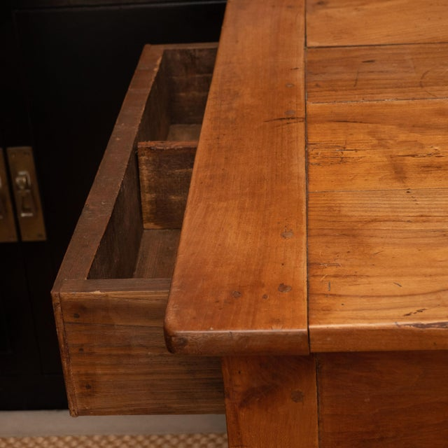 French Provincial Cherrywood Farm Table For Sale - Image 4 of 11