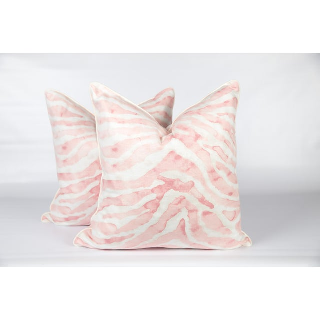 2010s Blush Pink Sahara Linen Zebra Pillows, a Pair For Sale - Image 5 of 5