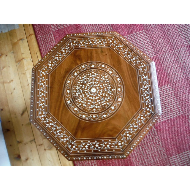 Arabic Style Carved and Inlayed Table For Sale - Image 5 of 9