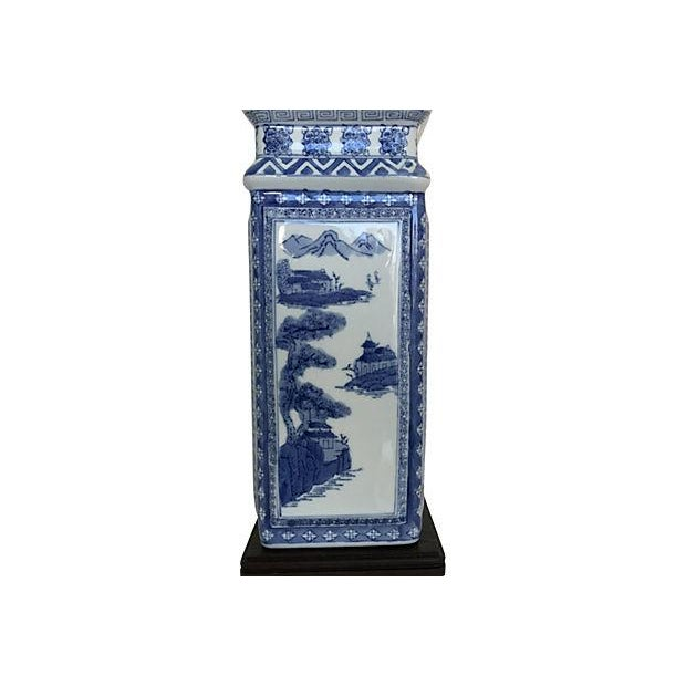 1950s Blue & White Porcelain Vase Lamp - Image 5 of 9