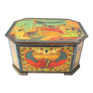 Antique Egyptian Motif Tole Candy Box For Sale