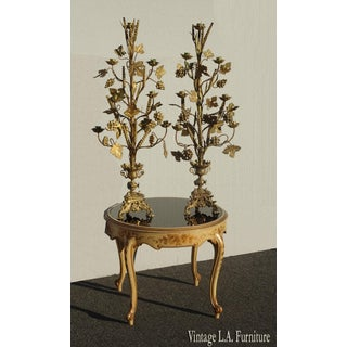 "Pair Tall 36""h Vintage Gold Table Top Floral Candelabras Brass Candle Holders Light Preview"
