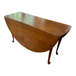 Queen Anne Tiger Maple Drop-Leaf Dining Table by Lawrence Crouse, Joiner For Sale