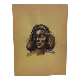 "1970s Vintage ""Large Eyes"" Original Charcoal Pencil Print by S. James For Sale"