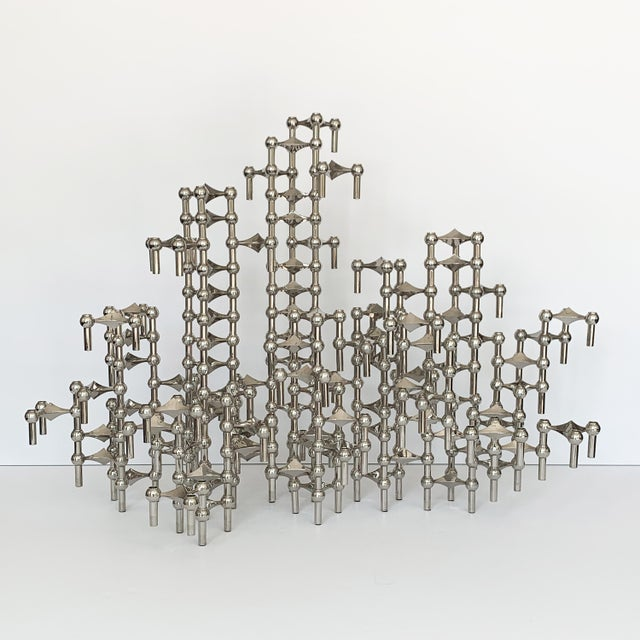 1960s Set of 100 Piece Modular Candlestick Sculpture by Fritz Nagel and Caesar Stoffi For Sale - Image 5 of 11