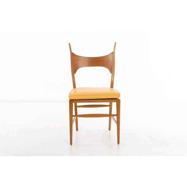 EDWARD WORMLEY (1907 - 1995) Model 5580 Side Chair Rare dining chair in bleached mahogany and cane, featuring a custom...