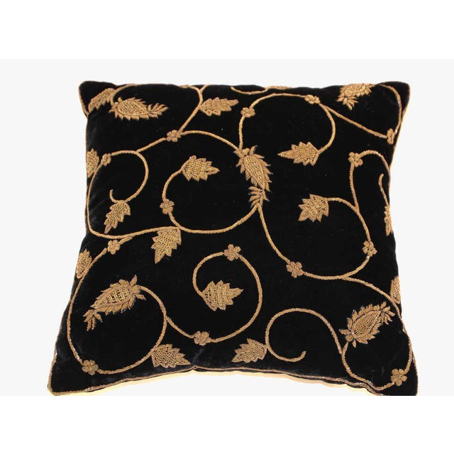 1980s Black Silk Velvet Throw Pillow Embroidered with Gold Design For Sale - Image 5 of 11