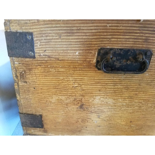 Wood Late 19th Century Antique Pine Trunk With Original Hardware For Sale - Image 7 of 13