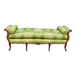 Antique French Carved Fruitwood Daybed in Silk For Sale