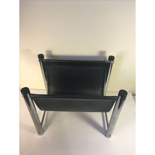 Vintage Mid-Century Leather/Chrome Magazine Rack - Image 3 of 4