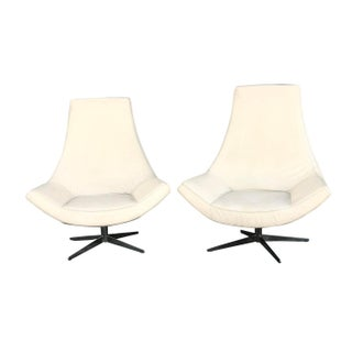 Scandinavian Modern Leather High-Back Swivel Lounge Chairs - a Pair For Sale