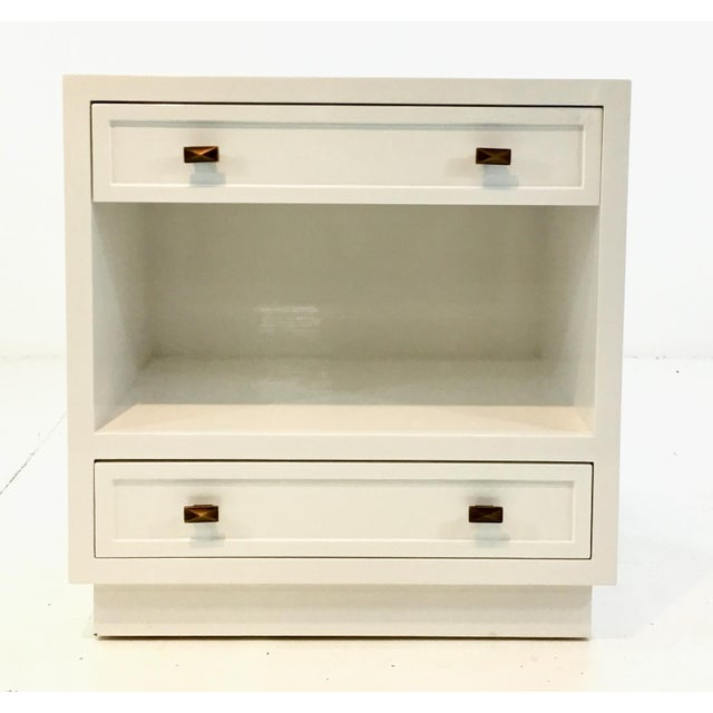 Worlds Away Modern White Lacquered Warren Two Drawer Nightstand/Side Table For Sale In Atlanta - Image 6 of 6