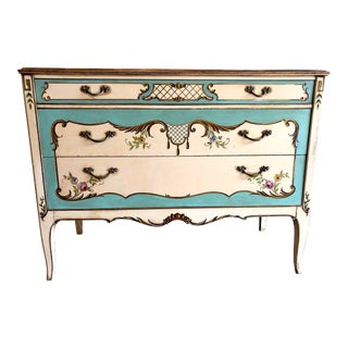 1920s Venetian Blue Painted Commode Dresser For Sale