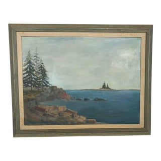 1960s Vintage Scenic Ocean Oil on Canvas Painting For Sale