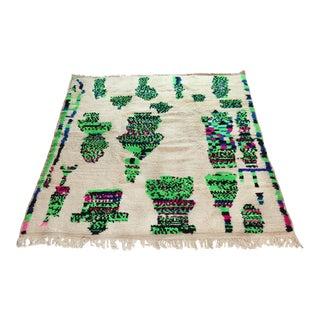 1990s Moroccan Azilal Wool Rug - 5′7″ × 6′6″ For Sale