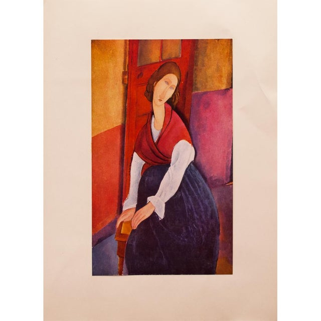 Red 1958 A. Modigliani, First Edition Lithograph After Portrait of Jeanne Hébuterne For Sale - Image 8 of 9