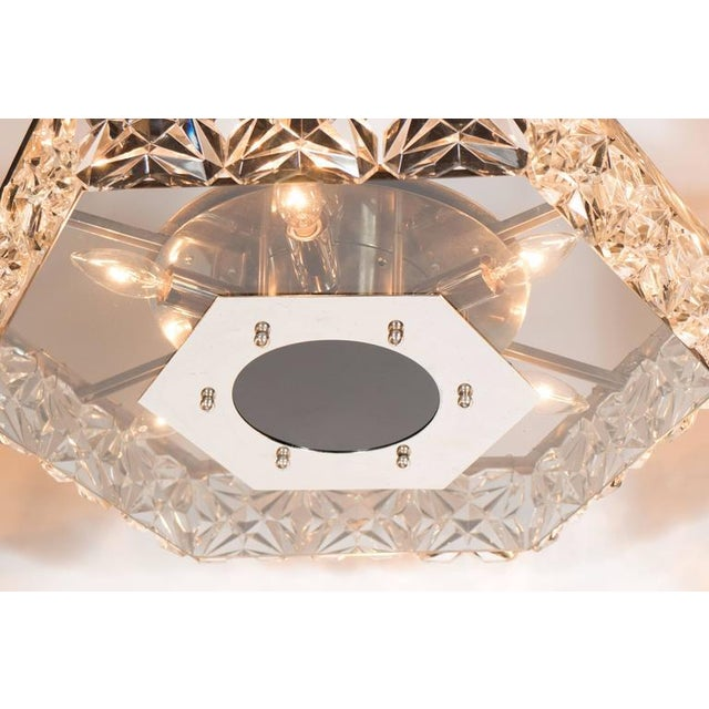 Kinkeldey Mid-Century Modernist Faceted Crystal Hexagonal Chandelier by Kinkeldey For Sale - Image 4 of 10