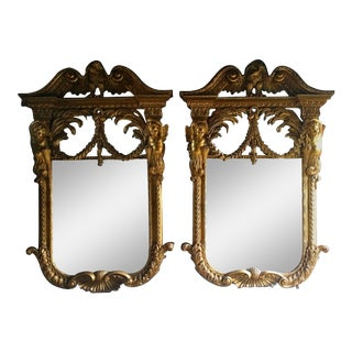 French Wall Mirrors Giltwood Antique William Kent Style Rococo - A Pair For Sale